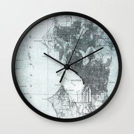Vintage Seattle City Map Wall Clock