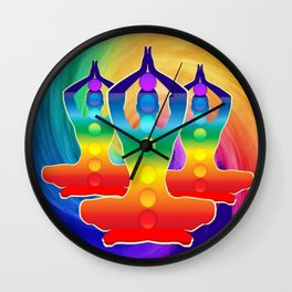 TRIPLE Om Meditation Mantra Chanting DESIGN Wall Clock