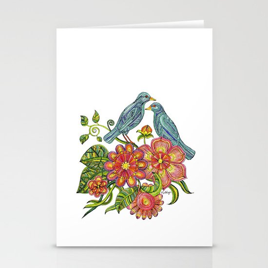 Fly Away With Me - Hand drawn illustration with birds, flowers and leaves. Stationery Cards