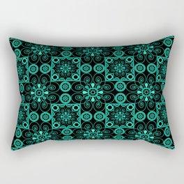 Turquoise and black pattern . Rectangular Pillow