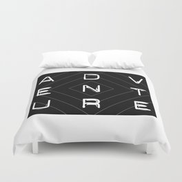 ADVENTURE Black and White Dynamoe Typography and Geometric Print Duvet Cover