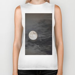 Waning moon and clouds with Saturn Biker Tank
