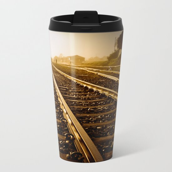 Railway Tracks at sunrise and twilight sky Metal Travel Mug