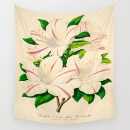 Azalea Alba Magnifica (Rhododendron indica) Vintage Botanical Floral Scientific Illustration Wall Tapestry