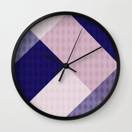 Pink blue patchwork . The combined pattern . Wall Clock