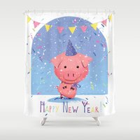 piglet Shower Curtains featuring Happy New Year piglet by MyMoonart