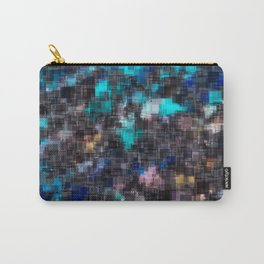 psychedelic geometric square pattern abstract background in blue pink and black Carry-All Pouch
