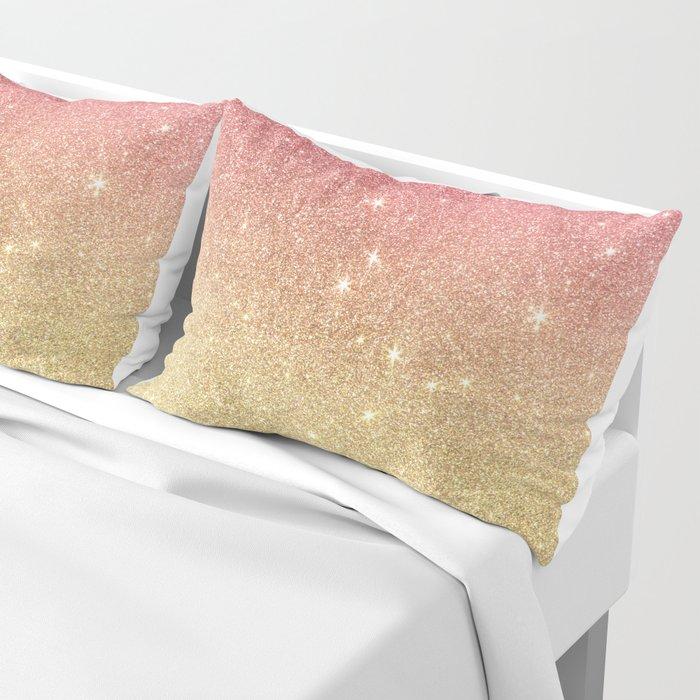 Pink abstract gold ombre glitter Pillow Sham