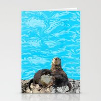 otters Stationery Cards featuring Where the River Meets the Sea Otters by Distortion Art