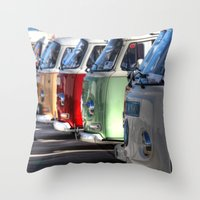 hippy Throw Pillows featuring Hippy Vans by Barbo's Art