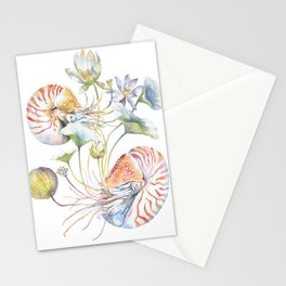 Nautilus and Lotus Surreal Watercolor Sea Animal Botanical Design Stationery Cards