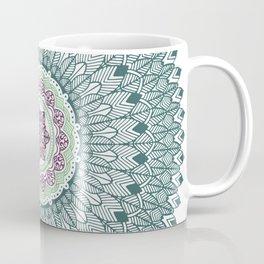 Color teal and purple feather mandala hippie boho Coffee Mug