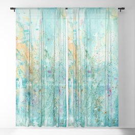 Whispering Meadow 1k by Kathy Morton Stanion Sheer Curtain