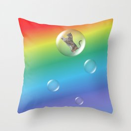 Bubble Cat Floating To The Rainbow Throw Pillow