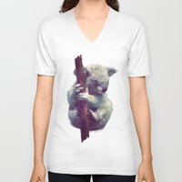 koala V-neck T-shirts featuring Koala by Amy Hamilton