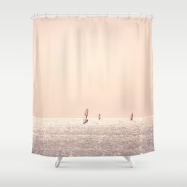 Golden Hour Surfers Shower Curtain