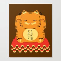 garfield Canvas Prints featuring Lucky Garfield by Ashley Hay