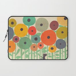 Cat in flower garden Laptop Sleeve