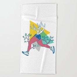 Run like a deer Beach Towel