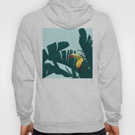 Green Toucan Tropical Banana Leaves Pattern Hoody
