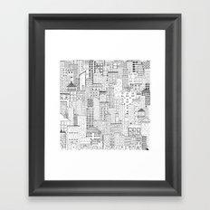 City Doodle (white) Framed Art Print