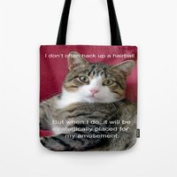 meme Tote Bags featuring TJ Meme by Frankie Cat