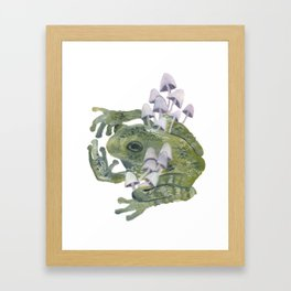 frog & mushrooms Framed Art Print