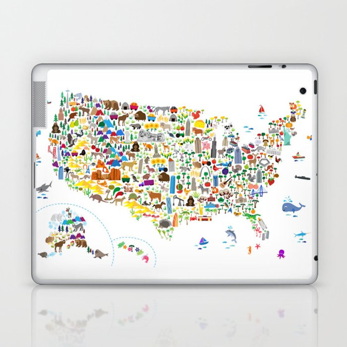 Animal Map of United States for children and kids Laptop & iPad Skin by  artpause
