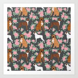 Boxer florals floral pattern dog portrait pet friendly dog breeds boxers Art Print