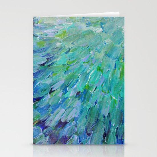 SEA SCALES - Beautiful Ocean Theme Peacock Feathers Mermaid Fins Waves Blue Teal Color Abstract Stationery Cards