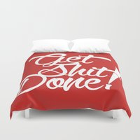 get shit done Duvet Covers featuring Get Shit Done! red by Ariel Menta