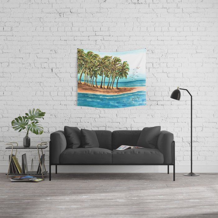 Private Island Painting Wall Tapestry
