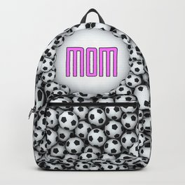 Soccer Mom / 3D render of hundreds of soccer balls framing Mom text Backpack