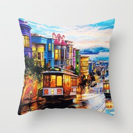 Russian Hill, San Francisco with view of Bay Throw Pillow