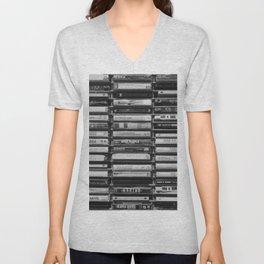 Cassette Tapes Pattern (Black and White) Unisex V-Neck