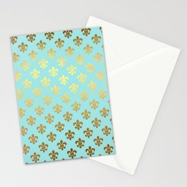 Royal gold ornaments on aqua turquoise background Stationery Cards