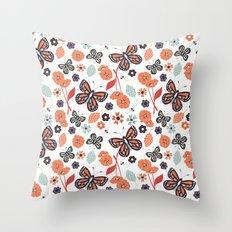 Flowers and butterflies pattern 004 Throw Pillow