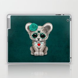 Teal Blue Day of the Dead Sugar Skull White Lion Cub Laptop & iPad Skin