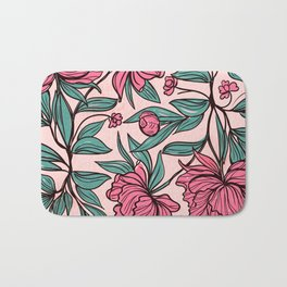 Floral Obsession (pink peonies vintage flowers pattern) Bath Mat