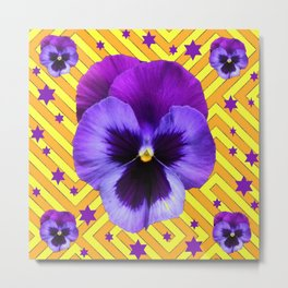 DECORATIVE LILAC PURPLE PANSIES  FLOWERS & PURPLE STARS Metal Print