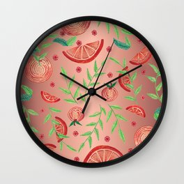 Orange - Rose Gold Wall Clock