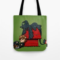 peanuts Tote Bags featuring Dragon Peanuts 2 by le.duc