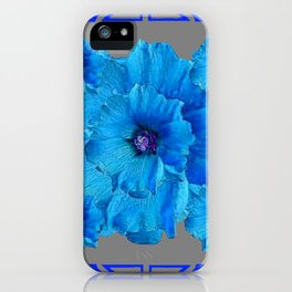 DECO BLUE HOLLYHOCKS PATTERN GREY ABSTRACT ART iPhone Case