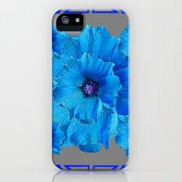 DECO BLUE HOLLYHOCKS PATTERN GREY ABSTRACT ART iPhone Case