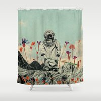 diver Shower Curtains featuring Lonely Diver by Fajar P. Domingo