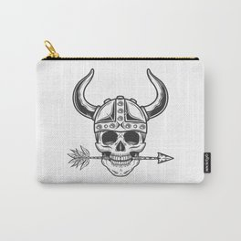 Vintage skull in the viking helmet with arrow in monochrome style isolated illustration Carry-All Pouch