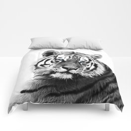 Black and white fractal tiger Comforters