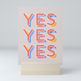 YES - typography Mini Art Print