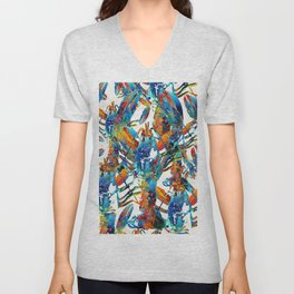 Colorful Lobster Collage Art - Sharon Cummings Unisex V-Neck