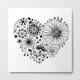 Floral heart Metal Print